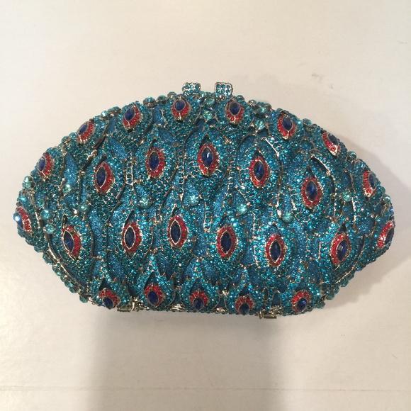 1bb932802 FAWZIYA Bags | Turquoise Rhinestone Bling Peacock Clutch | Poshmark